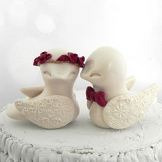 Love Birds Wedding Cake Topper Burgundy and Beige by LavaGifts, $65.00