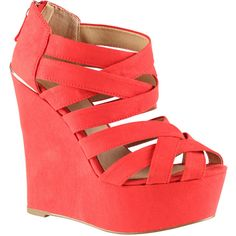 ALDO Carey wedges ($35) ❤ liked on Polyvore featuring shoes, sandals, heels, wedges, zapatos, red, platform heel sandals, wedge sandals, high heel platform sandals and red wedge shoes