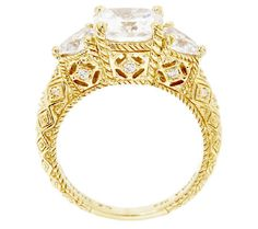 Judith Ripka Sterling 14K Clad Diamonique 3-Stone Ring J295508 107