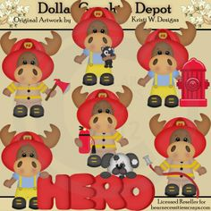 Firemen Moose *DGD Exclusive* - Created by Kristi W. Designs - Great for printable crafts, scrapbooking, web graphics, embroidery patterns, cutting files, and more! www.DollarGraphicsDepot.com