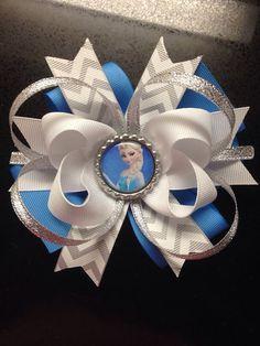 Disney's Frozen Queen Elsa Chevron Stacked Bow on Etsy, $6.00