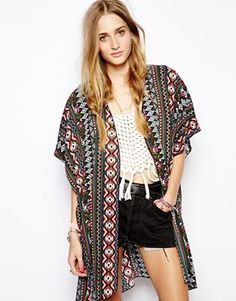 Image 1 of Band of Gypsies Long Kimono Jacket in Geo-Tribal Print