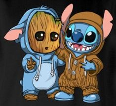 Groot [as Stitch - as a dog] & Stitch [as Baby Groot] (Drawing by Unknown) Cute Disney Drawings, Cute Animal Drawings, Kawaii Drawings, Cute Drawings, Cartoon Wallpaper Iphone, Cute Disney Wallpaper, Cute Cartoon Wallpapers, Baby Wallpaper, Disney Kunst
