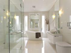 Bathroom layout- windows, freestanding bath, modern loo & glass shower