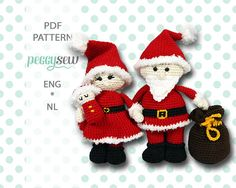 Santa Claus and baby, SET 2 crochet patterns Amigurumi Patterns, Knitting Patterns, Crochet Patterns, Chain Stitch, Slip Stitch, Double Crochet, Single Crochet, Crochet Yarn, Crochet Toys