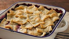 Traditional blueberry cobbler has never been easier to make with this simple patchwork pie crust.