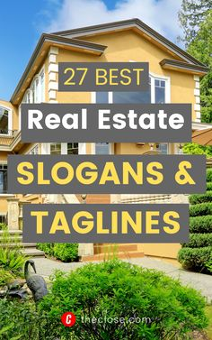 Your slogan or tagline isn't your elevator pitch; it is your elevator DOOR pitch. We put together a list of 27 best real estate slogans and taglines to inspire you. #realtortaglines #RealEstateSlogans #marketingideas #leadgeneration #theclose #EstateAgents #realestateagents #RealEstateTraining #theclose #Success #SellingRealEstate #RealEstateTips #RealEstateMarketing #RealEstateTagLines #realestate #finance Real Estate Tag Lines, Real Estate Tips, Real Estate Slogans, Elevator Door, Real Estate Training, Selling Your House, Selling Real Estate, Pitch, Identity