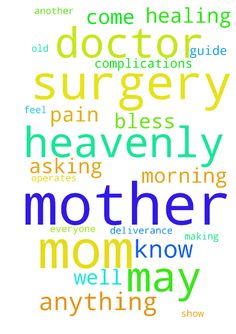 Mom Undergoing 5th Surgery Please Pray -  May God bless everyone.. I come here asking all praying warriors to unify in prayer with me for my mother. My mom needs to go through jet another surgery this morning making it the 5th procedure. Her leg is not healing, the doctor is perplexed as to why this is happening and has no answers. This has taken a toll on my 70 year old mothers emotional well being. I have faith in God and know how strong the power of prayer is, I ask kindly to anyone…