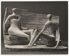 Henry Moore – Two Seated Figures against Curved Wall (plaster maquette for UNESCO commission 1957 silver gelatin print (Lidbrooke) Abstract Sculpture, Bronze Sculpture, Sculpture Art, Henry Moore Sculptures, Monuments, Paint Photography, English Artists, Figurative Art, Landscape Art