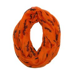 Wear this spooky loop scarf to your next Halloween party. The fun bat design can be worn for the fall holiday with an everyday outfit or as part of a costume.