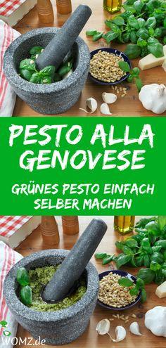 Basil pesto, pesto alla genovese or green pesto are the names for . - Basil pesto, pesto alla genovese or green pesto are the names for the classic Italian paste, which - Sauce Recipes, Crockpot Recipes, Pasta Recipes, Dinner Recipes, Cooking Recipes, Healthy Recipes, Pesto Genovese, Basil Pesto Recipes, Spaghetti