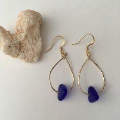 9e0aa5d1e Gold Filled <> Blue Sea Glass <> Mini Gold Teardrop Hoops by Pashun on