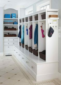 Coat storage in little cubby holes