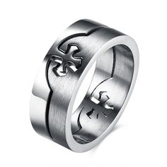 Vintage Cross Men Patterns removable combination Ring 316L Stainless Steel Biker Male  Fashion Jewelry Christian Accessory