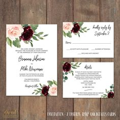 Wedding Invitation Suite, Floral Invitation Suite, Rustic Boho, Watercolor Roses and Greenery, Blush Burgundy Watercolor Flowers - Brianna by DIVart on Etsy