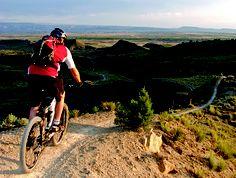 Mountain biking Joe's Ridge near Fruita, Colorado.