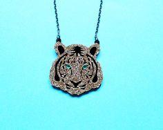 Mini gold glitter tiger necklace big cat jewellery Tiger