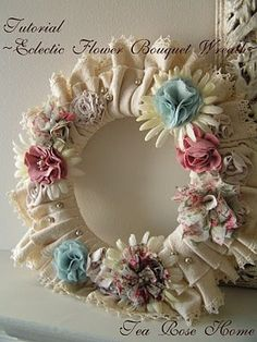 EclecticFlowerWreathTitle  ---  I could see this being made with leather scraps for the inner circle and the lace on the outer edge