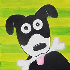 Man's best friend is happy to have a bone to add to his backyard collection. This easy-to-paint design is perfect for younger artists. You can even use it as a fundraiser for your local animal shelter. Dog Canvas Painting, Canvas Painting Designs, Canvas Designs, Easy Paintings, Animal Paintings, Canvas Art, Canvas Size, Kids Paint Night, Summer Painting