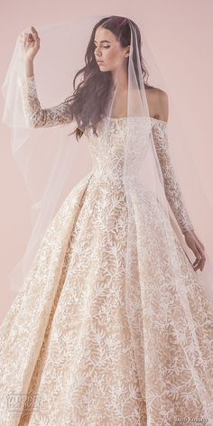 saiid kobeisy 2018 bridal long sleeves straight across full embellishment romantic princess blush color ball gown wedding dress chapel train (3261) zv