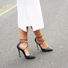 Black lace up + structured white.