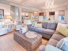 House of Turquoise: Mint Julep - WaterColor, Florida - love the open layout Coastal Living Rooms, Coastal Living Room Furniture, House Styles, Coastal Decorating Living Room, House Interior, Home, Family Room, Home Decor, Beach House Decor