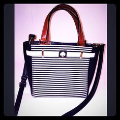 Kate spade handbag Black and white stripe leather handbag special edition, 10x8 perfect size anytime bag, can also be worn across body as messenger bag, carry  a few times, in perfect condition. kate spade Bags Satchels