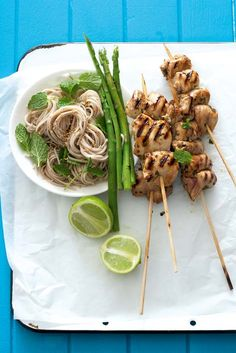 Chicken skewers with chilli min soba noodles (wheat-free)