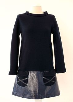 Patent leather and jersey navy  dress SIXTIES Luci Lü by twyggi. Explore more products on http://twyggi.etsy.com