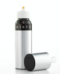 MISTO Oil Sprayer.  If you need a light coating of oil, this works great.  This is part of Clean Eating and not Pam spray (if you read the ingredients on can sprays, it say PROPELLANT!!!! That is what they use in bug spray :O That is not Clean Eating  I have this and other liquids like lemon juice canbe used.