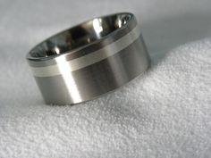 Titanium Ring Offset 2mm Silver Inlay Band AX89. $60.99, via Etsy.