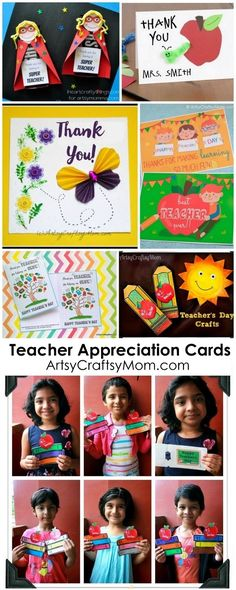20 Awesome Teachers' Day card Ideas with Free Printables! - Print & personalize thank-you cards that kids can make and Teachers will love!