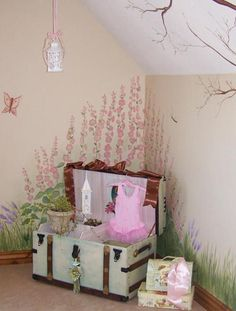 Transitional Kids Room With Murals On Walls Of Grass And Flowers