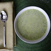 This creamy soup makes for a quick and delicious meatless dinner or lunch (use vegetable broth for a vegetarian version). Substitute cauliflower for the broccoli, leeks for the onion and use white cheddar for an elegant variation.
