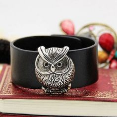 Vintage Retro Owl PU Leather Bracelet
