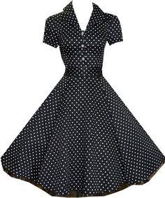 Mad Men Party: Pretty Kitty Fashion 50s Polka Dot Schwarz Weiß Cocktail Kleid: Amazon.de: Bekleidung