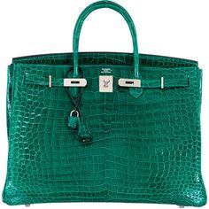 Pre-Owned Hermes Birkin Bag 40cm Vert Emerald Porosus Crocodile (313.855 BRL) ❤ liked on Polyvore featuring bags, handbags, emerald, multi colored handbags, colorful purses, colorful handbags, croc purse and multi color purse