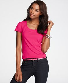 Ann Taylor - AT Knits Tees - Short Sleeve Scoop Neck Tee