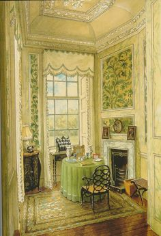 writing numbers in Ditchley Park (Nancy Lancaster).  watercolor Alexander Serebriakoff (1948).