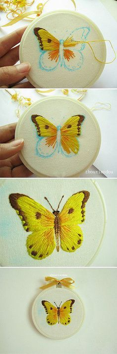 Embroidering a butterfly using satin stitch: