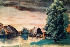 Albrecht Durer Willow Mill « Albrecht Dürer « Artists « Art might - just art Albrecht Durer, Framed Art Prints, Painting Prints, Wine Painting, Watercolor Paintings, Nature Landscape, Renaissance Artists, Canvas Art, Canvas Prints