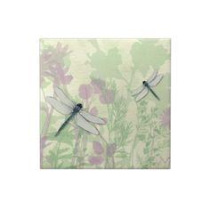 Blue Dragonflies Tile, Framed Tile or Jewelry Box by MousefxArt.Com #dragonflies #tiles #jewelrybox #framedtile #art