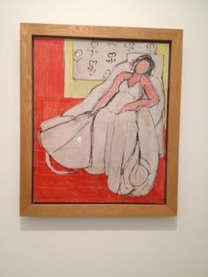 Matisse. Hij heeft bewust geen gezicht, motief op behang en/of jurk geschilderd. Schilderij is echt af.