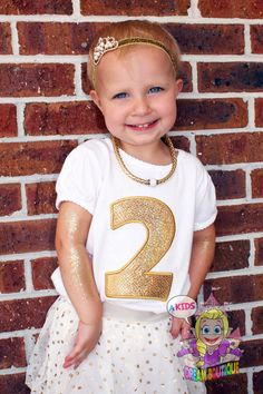 Girls gold birthday shirt 1 2 3 4 5 6 7 8 9 by AKidsDreamBoutique