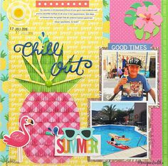 """A summery mix and match layout by @moniqueliedtke using the """"Sunshiny Days"""" and the """"Fun in the Sun"""" collections by @PebblesInc #madewithpebbles #pebblesinc #scrapbook_layout"""