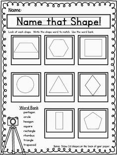 Name the Shapes Worksheets - Freebie Geometry Worksheets, Shapes Worksheets, Printable Worksheets, Lkg Worksheets, Summer Worksheets, Music Worksheets, Printables, Shapes Worksheet Kindergarten, First Grade Worksheets