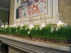 easter mantle with wheat grass Golf Centerpieces, Grass Centerpiece, Golf Party Decorations, Party Themes, Party Ideas, Spring Decorations, Christmas Decorations, Golf Theme, Spring Has Sprung