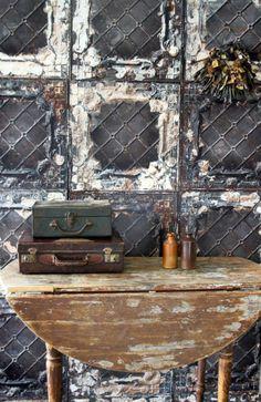 Tin Tile wallpaper by NLXL * Wonderwall * The Inner Interiorista Restaurant Trends, Deco Restaurant, Rockett St George, Tin Walls, Tile Wallpaper, Interior Decorating, Interior Design, Brutalist, Industrial Style
