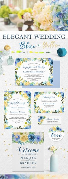 Elegant Blue Yellow Floral Invitation Suite Mason Jar Wedding Invitations, Spring Wedding Invitations, Watercolor Wedding Invitations, Floral Invitation, Floral Wedding Invitations, Bridal Shower Invitations, Romantic Weddings, Elegant Wedding, Blue Yellow
