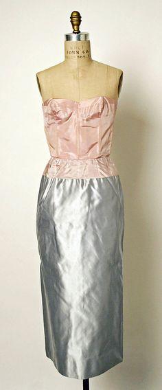 Cocktail dress Jean Dessès (French (born Egypt), Alexandria 1904–1970 Athens) Date: late 1950s Culture: French Medium: silk, glass, plastic metallic thread